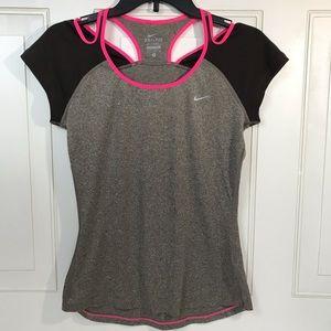 Womans S Nike Dri-fit Top Neon Trim Media Pocket